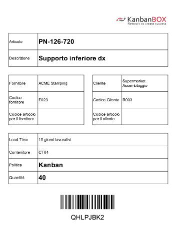 Example of a label printed with KanbanBOX